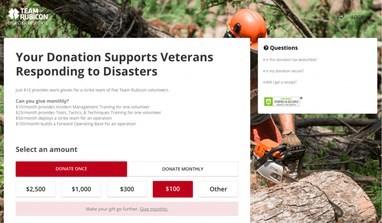 team rubicon donation page