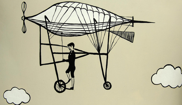 illustration of a man flying on a machine going through the sky