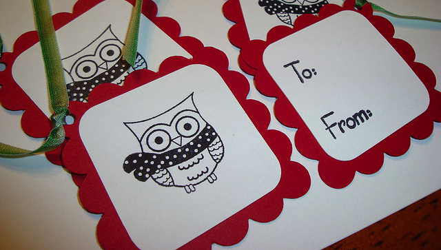 owl drawing on a card with red trim
