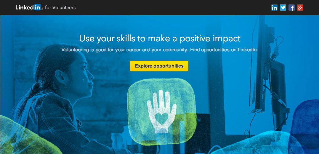 LinkedIn for Volunteers homepage