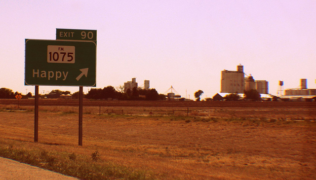 a field with a pink sky and a green freeway sign that says happy with an arrow