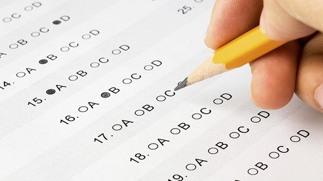 pencil bubbling in answers on a standardized test