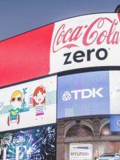 lit up brands logos on screen