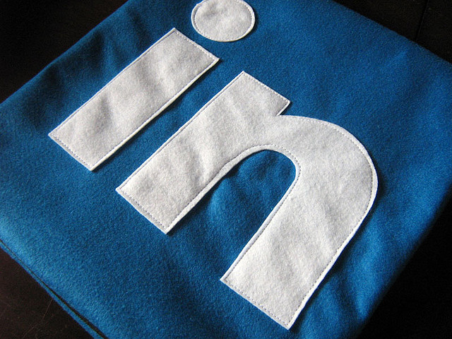 linkedin logo stitched into a blanket