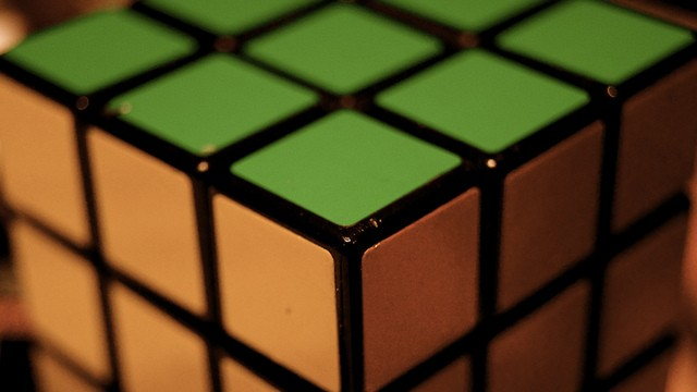 close up of the corner of a solved rubix cube