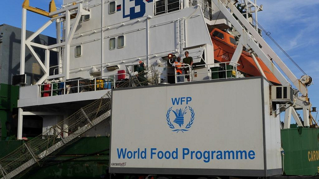 World food program banner on a boat