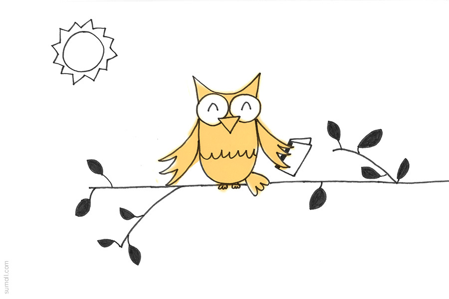illustration of a yellow bird sitting on a branch with a sun in the corner