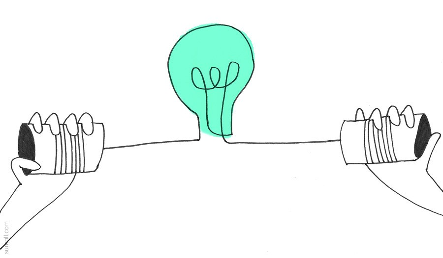 illustration of a blue light bulb with people holding soup cans on either side