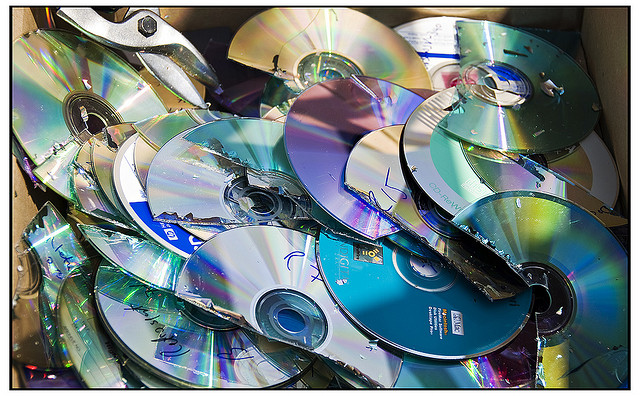 pile of smashed cds