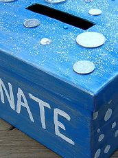 blue painted sparkly donate box