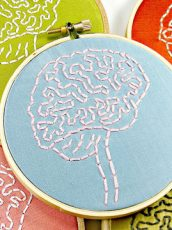 different colored embroidery rings with brains stitched in