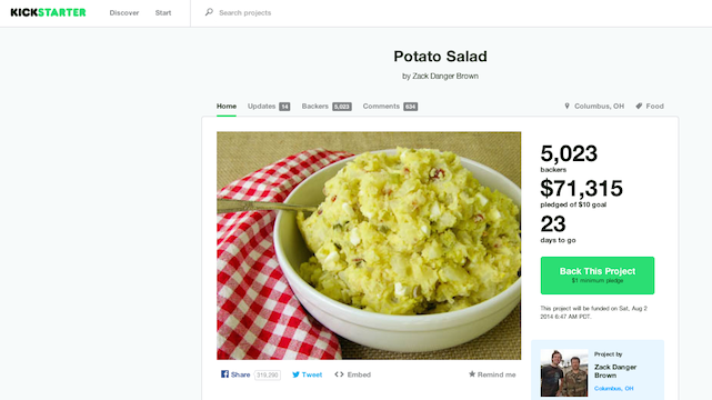 kickstarter fundraising potato salad project