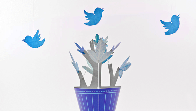 twitter logo over a cut out paper plant