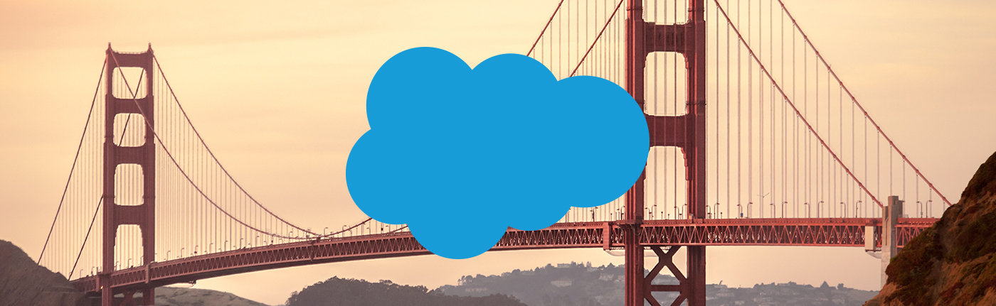 the golden gate bridge with the salesforce logo
