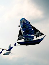 pirate ship kite flying in the sky