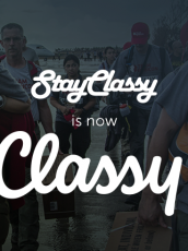 StayClassy rebranding as Classy with a photo of Team Rubicon