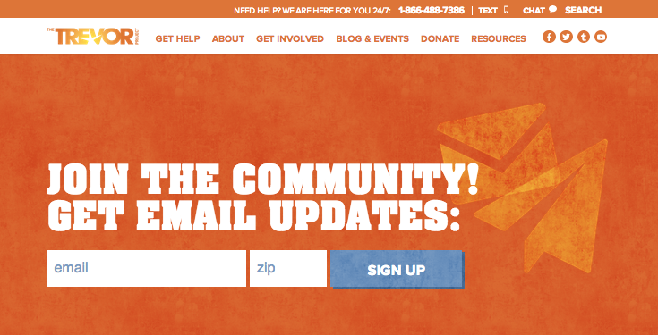 Trevor Project Home Page Email Subscription