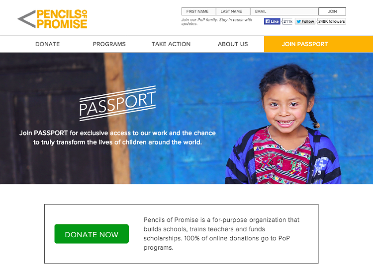 Pencils of Promise Home Page Recurring Giving Campaign