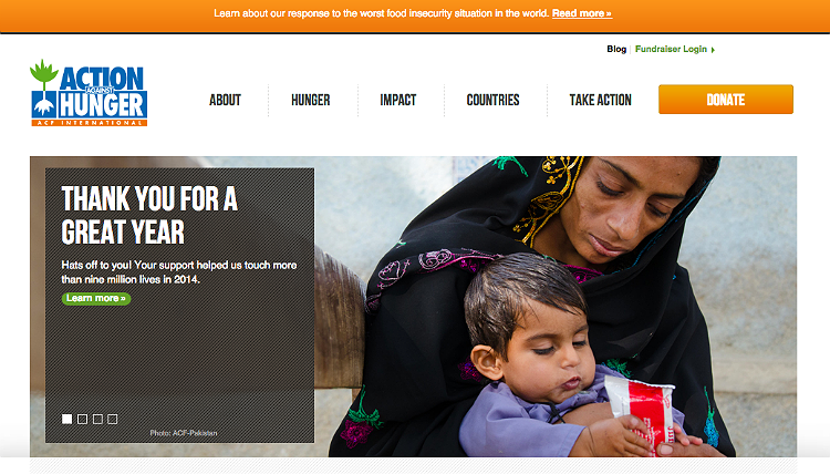 Action Against Hunger Nonprofit Home Page