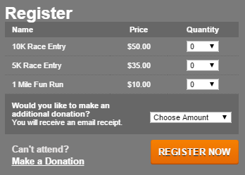 nonprofit run/walk registration