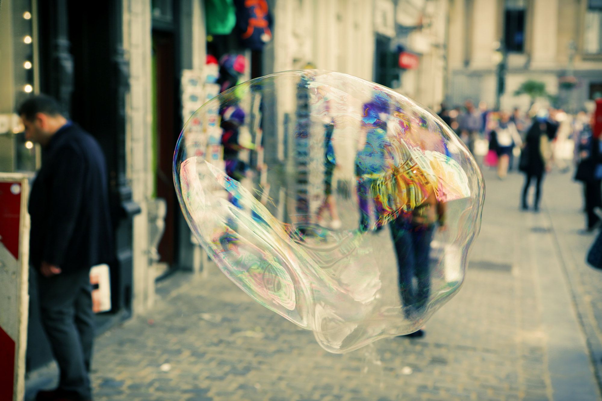 large bubble blown up on a street