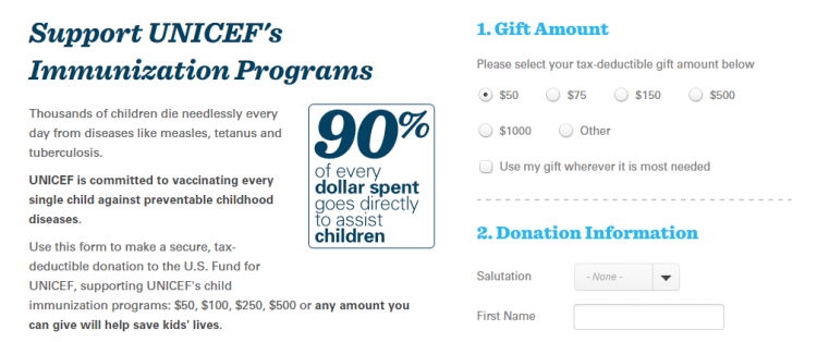 custom donation forms UNICEF