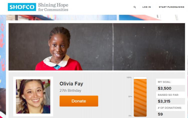 peer-to-peer fundraising page