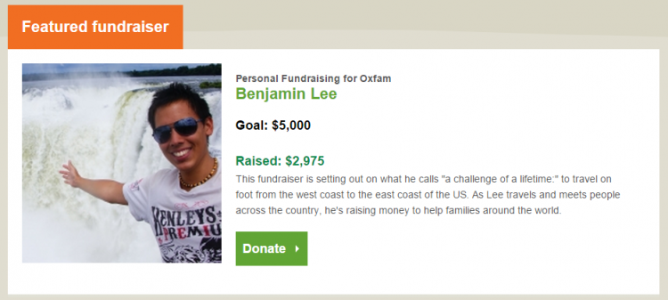 Oxfam featured fundraiser