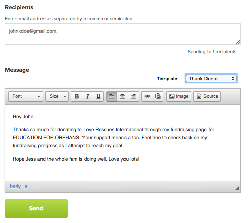 Email Function for Fundraisers