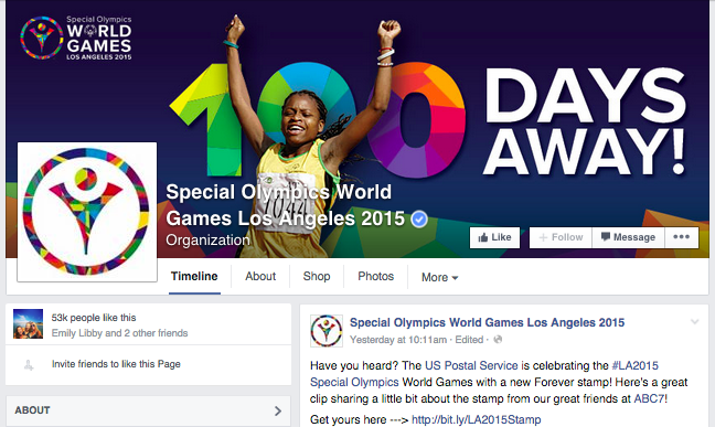 Special Olympics Facebook Page