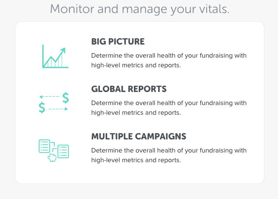 Monitor and manager your fundraising vitals. Determine the big picture health of your fundraising with high-level metrics and reports.