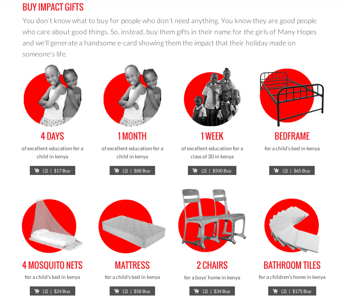 Many Hopes Impact Gifts Catalog