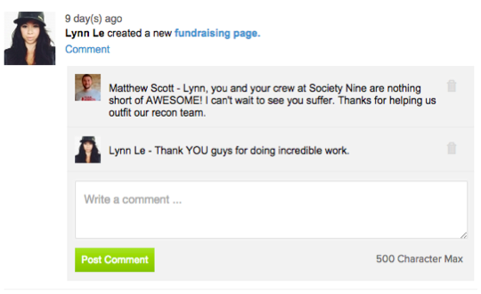 Lynn Le Comment on Fundraising Page