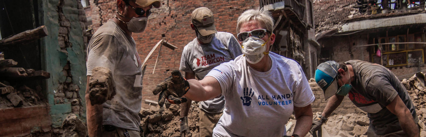 Team Rubicon volunteers working on disaster relief in Nepal