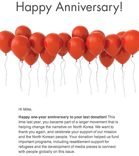 LiNK Anniversary Email to thank donors