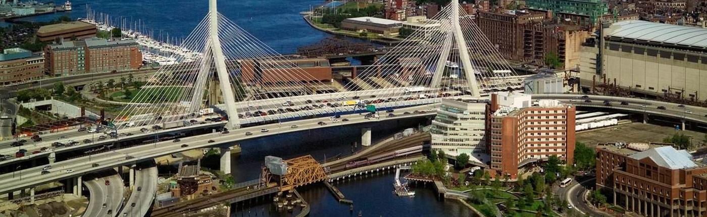 bridge going across water in a city