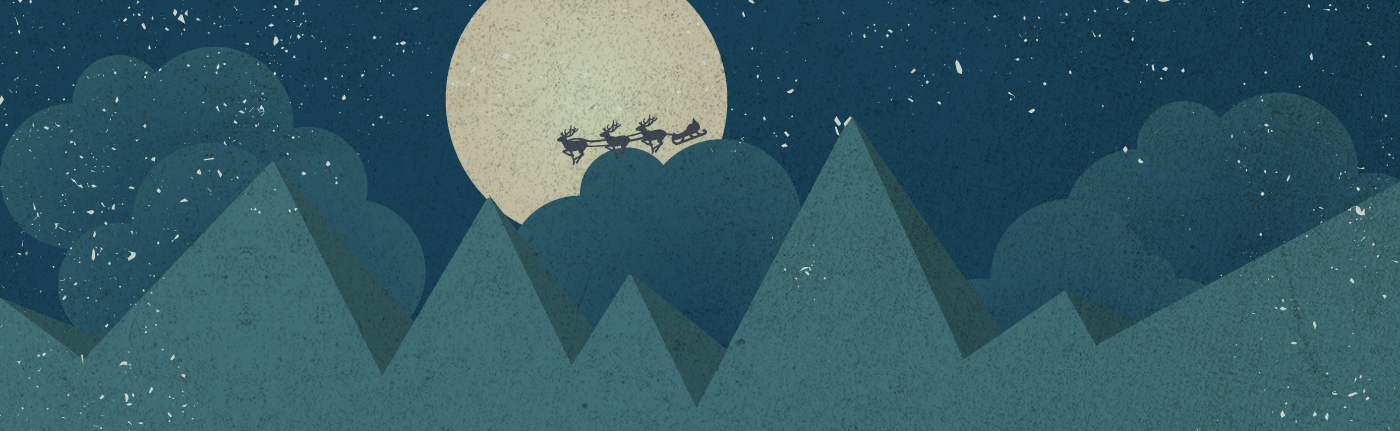 sketch of the night sky with the moon and reindeer and santas sleigh riding through the air