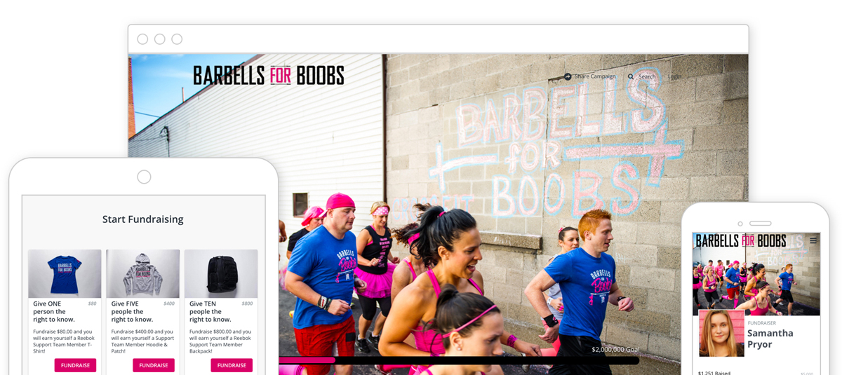 Barbells for Boobs fundraising event participantes running photo on the desktop, ipad, and mobile versions of Barbells of Boobs fundraising pages