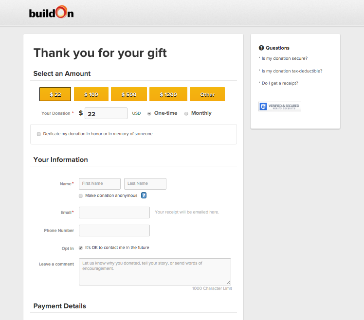 buildOn Donation Page with pass through parameters