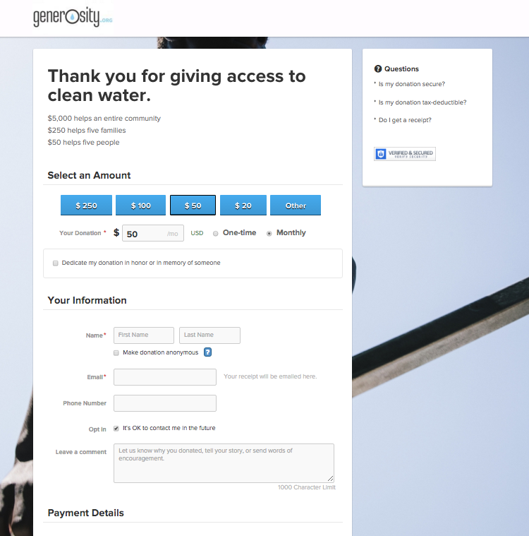 Generosity.org Donation Form prepopulated with pass through parameters