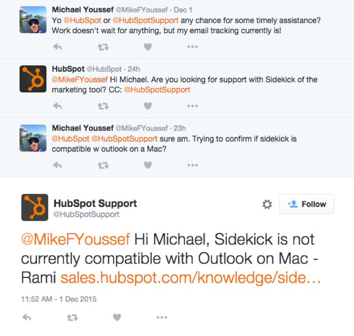 Hubspot Twitter example