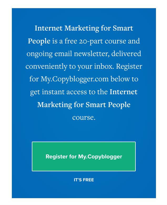 Copyblogger free online course on internet marketing