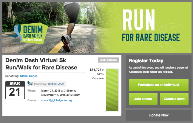 Fundraising page for Denim Dash 5K Run for Rare Diseases.