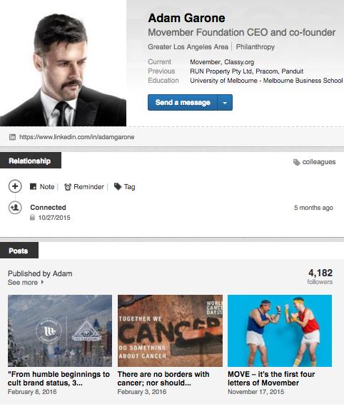 Adam Garone LinkedIn example