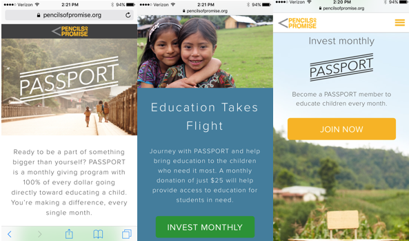 Pencils of Promise's monthly giving program, Passport, on a mobile screen