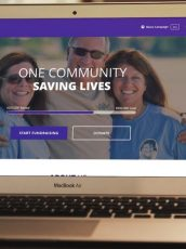 Kidney nation crowdfunding landing page on a laptop
