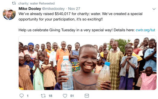 nonprofit on social media tweet