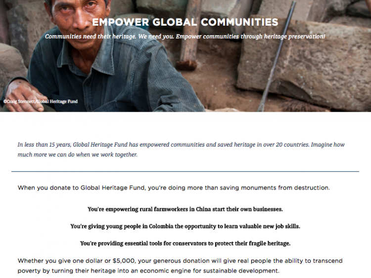 Global Heritage Fund donations