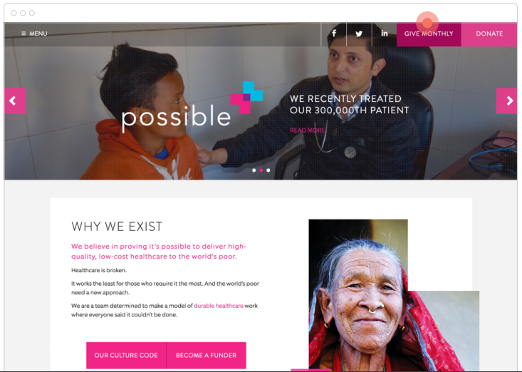 Possible's Monthly Giving CTA