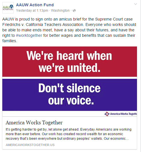 AAUW Action Fund social media post